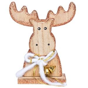 Standdeko Rentier aus Holz mit Glitter und Glöckchen