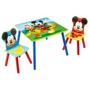 Disney 3-tlg. Tisch- und Stuhl-Set Micky Maus Holz WORL119014