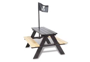 Pinolino Kindersitzgarnitur Nicki für 4 Pirat; Vollmassiv: Fichte, schwarz lasiert; 90 cmx79 cmx113 cm, 201688