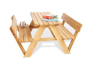 Pinolino Kindersitzgarnitur Lilli für 4 mit Rückenlehne; Vollmassiv: Eiche, geölt; 90 cmx103 cmx53 cm, 204019