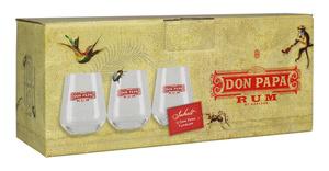 Don Papa Rum 3er Gläserset Don Papa gebrandete Tumbler Volumen 300 ml Geschenkpackung | 3-teilig
