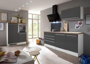 Respekta Premium Küchenzeile mit Mineralite - Einbauspülbecken 320 cm, grau