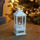 Bild 2 von LED-Dekolaterne mit Schnee-Effekt und Pinguin 9x9x19,5cm Weiß