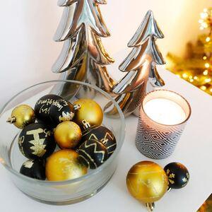 Weihnachtsbaumkugeln Gold/Schwarz 6cm 16 Stück