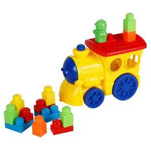 Zug mit Bausteinen und Spielfigur 15-teilig