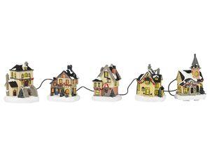 MELINERA® Weihnachtsstraße, mit 5 Häusern, handbemalte Dekoration für die Adventszeit