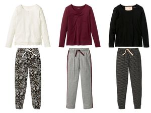 ESMARA® Lingerie Pyjama Damen, Hose mit Gummizugbund und Bindeband, mit Baumwolle