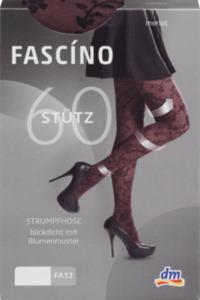FASCÍNO Stütz Strumpfhose, mit Blumenmuster, weinrot, Gr. 46/48