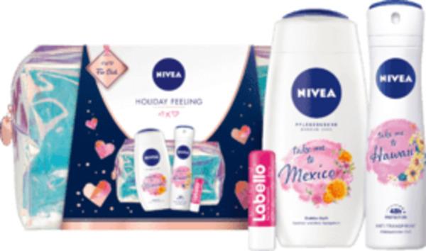NIVEA Geschenkset Holographic Kulturtasche + Duschgel 250ml + Deo 150ml + Labello 4,8g