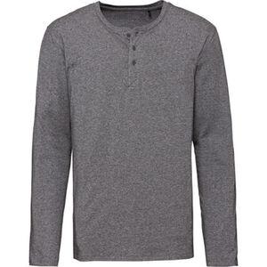 Schiesser Herren Henley-Shirt, grau meliert, 52, grau, 52