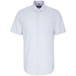 Seidensticker Business Hemd Modern Kurzarm Kent-Kragen Karo, blau