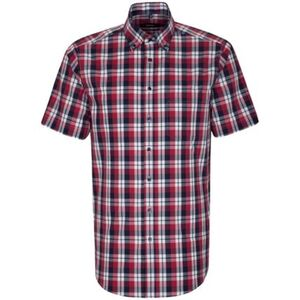 Seidensticker Business Hemd Modern Kurzarm Button-Down-Kragen Karo, rot