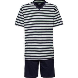 Götzburg Herren Pyjama mit V-Ausschnitt, kurz, grau/gelbgrün, 54, 54