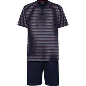 Götzburg Herren Pyjama mit V-Ausschnitt, kurz, navy, 54, 54