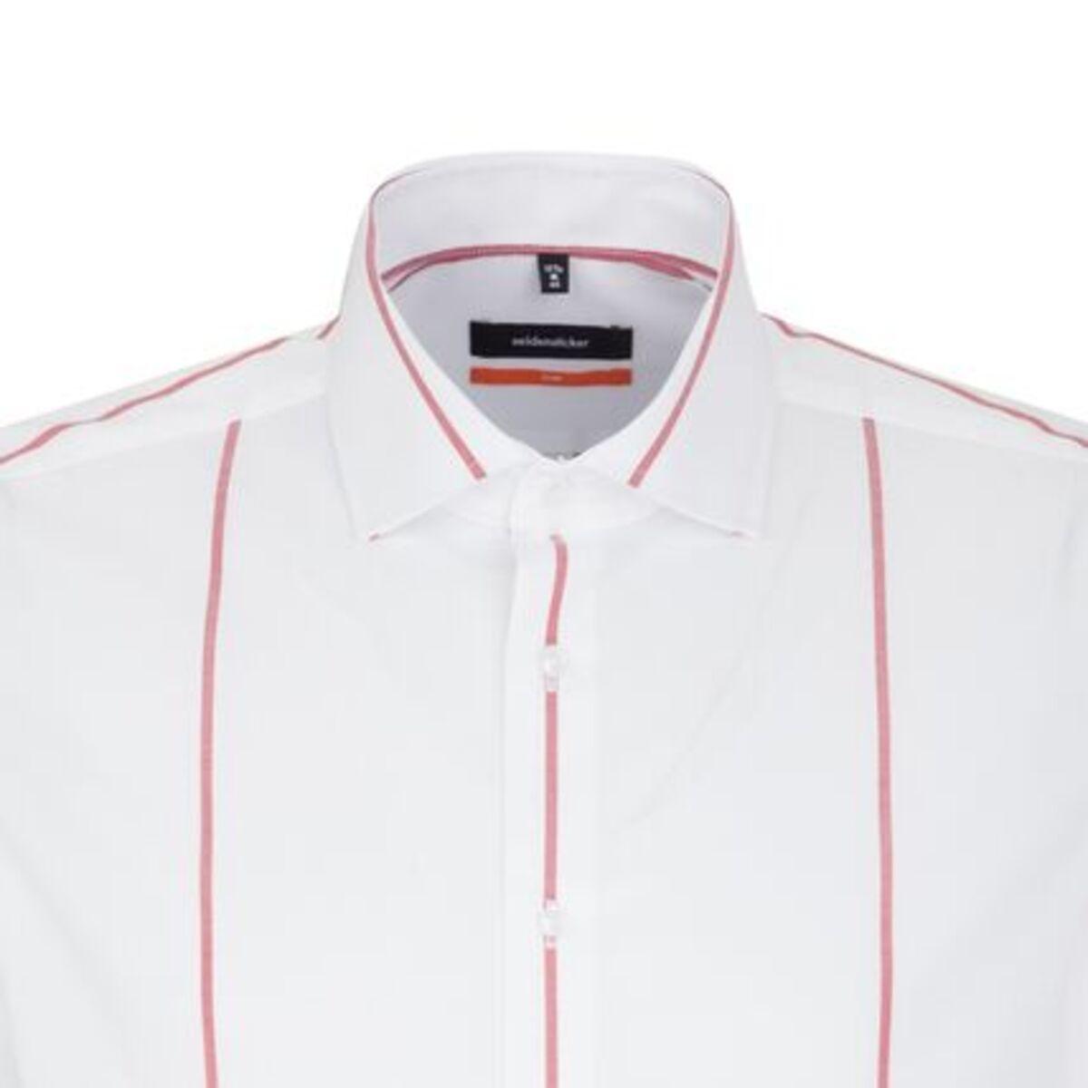 Bild 2 von Seidensticker Business Hemd Slim Langarm Kentkragen Streifen, Rot, rot, 43, 43