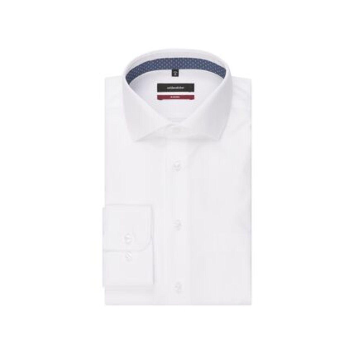 Bild 3 von Seidensticker Business Hemd Modern Langarm Kentkragen Streifen, Weiß, weiß, 46, 46