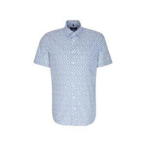 Seidensticker Business Hemd Tailored Kurzarm Covered-Button-Down-Kragen Print, Mittelblau,, blau, 38