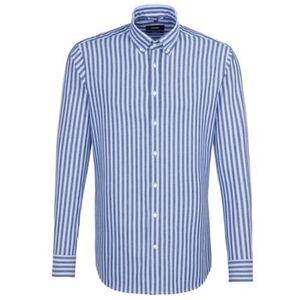 Seidensticker Business Hemd Tailored Langarm Button-Down-Kragen Streifen, Dunkelblau,, dunkelblau, 41