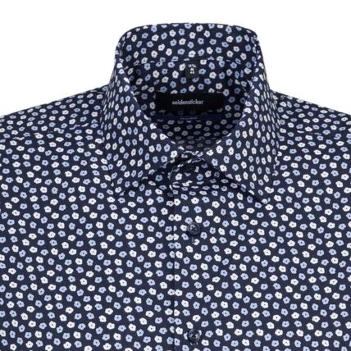Bild 2 von Seidensticker Business Hemd Tailored Kurzarm Kentkragen Print, Dunkelblau, blau, 38, 38