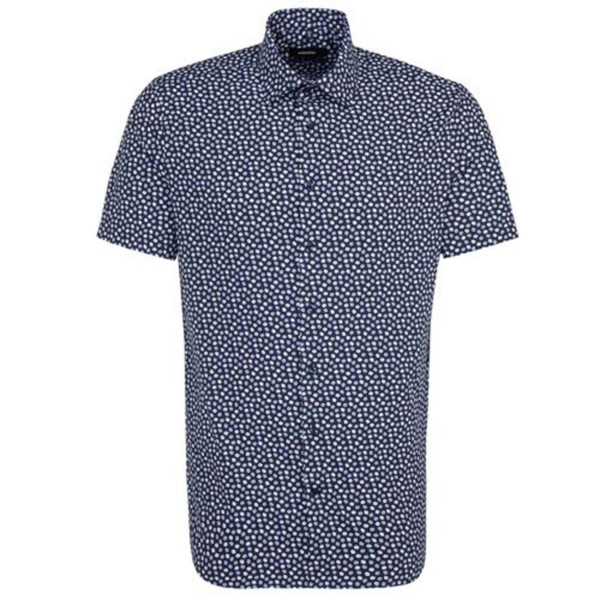 Bild 4 von Seidensticker Business Hemd Tailored Kurzarm Kentkragen Print, Dunkelblau, blau, 38, 38