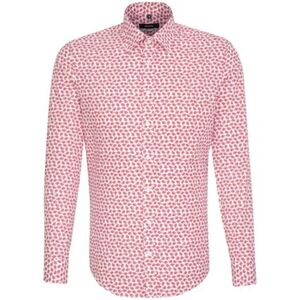 Seidensticker Business Hemd X-Slim Langarm Covered-Button-Down-Kragen Print, Rot, rot, 36, 36