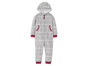 LUPILU® Mädchen Fleeceoverall, mit winterlichem Print, Reißverschluss mit Kinnschutz