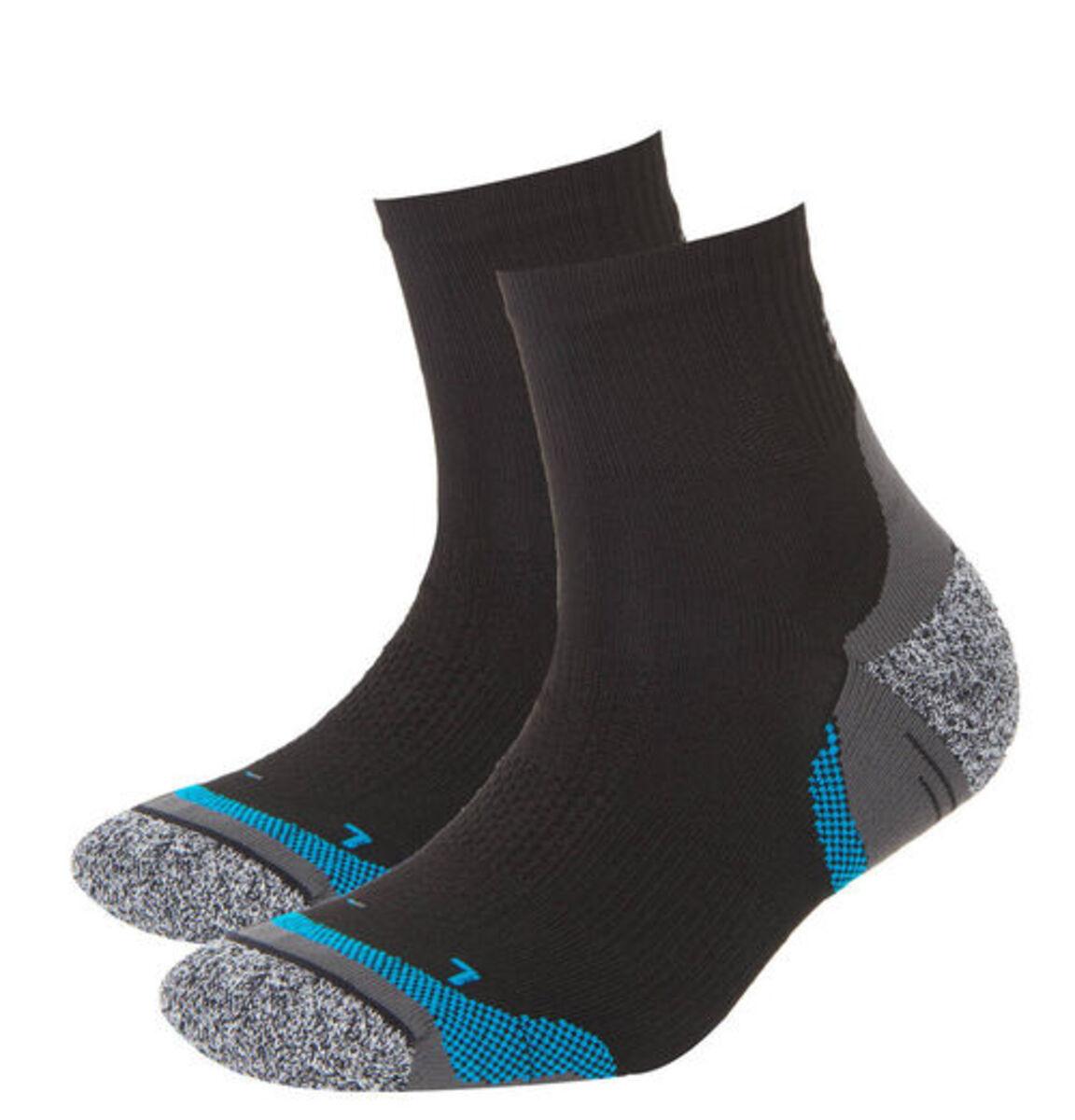 Bild 2 von manguun sports Laufsocken, 2er-Pack, Komfortbund, Achillessehnen-Schutz, blau/schwarz/grau, 43-46