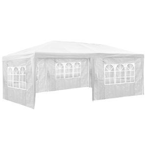 Garten Pavillon 6x3m mit 5 Seitenteilen weiß