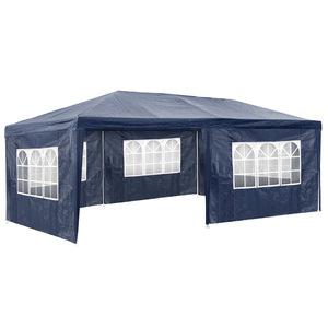 Garten Pavillon 6x3m mit 5 Seitenteilen blau