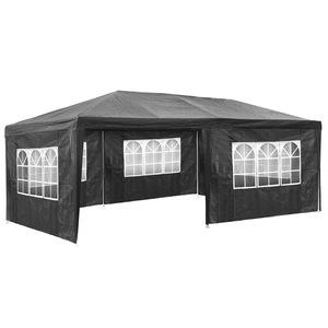 Garten Pavillon 6x3m mit 5 Seitenteilen grau