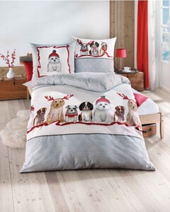 Kaeppel Bettwäsche Feinbiber ,  Dogs grau, 135 x 200 cn