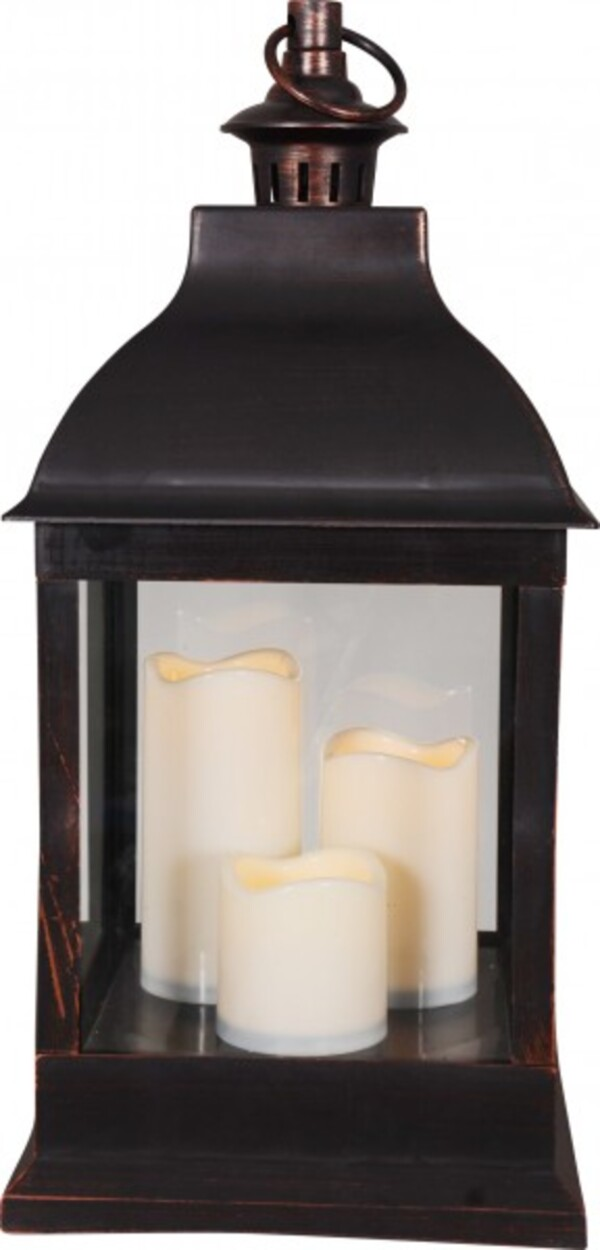 TrendLine LED Laterne mit 3 Kerzen ,  antik braun