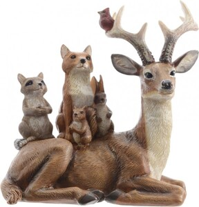 Kaemingk Rentier mit Tieren ,  braun, 14 x 9 x 15,5 cm