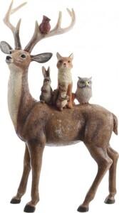 Kaemingk Rentier mit Tieren ,  braun, 16,5 x 7 x 27 cm