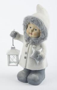 TrendLine Dekofigur Winterkind mit Laterne ,  21 x 16,5 x 39,5 cm