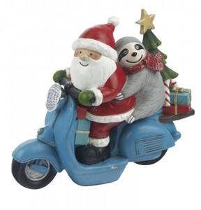 TrendLine Dekofigur Weihnachtsmann auf Motorrad ,  23,6 x 9,2 x 19,2 cm