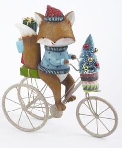 TrendLine Dekofigur Fuchs auf Fahrrad ,  32 x 9,3 x 35 cm