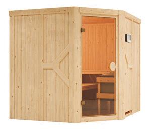 Karibu-Sauna »Brianna« mit Eckeinstieg, inkl. 9-kW-Ofen »Finnisch«, ca. 196 x 196 cm