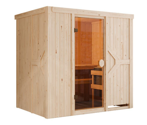 Karibu-Sauna »Harper« mit Fronteinstieg, inkl. 9kW-Ofen mit integrierter Steuerung, ca. 196 x 151 cm