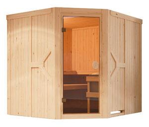 Karibu-Sauna »Avery« mit Eckeinstieg, inkl. 9-kW-Ofen mit integrierter Steuerung, ca. 170 x 151 cm