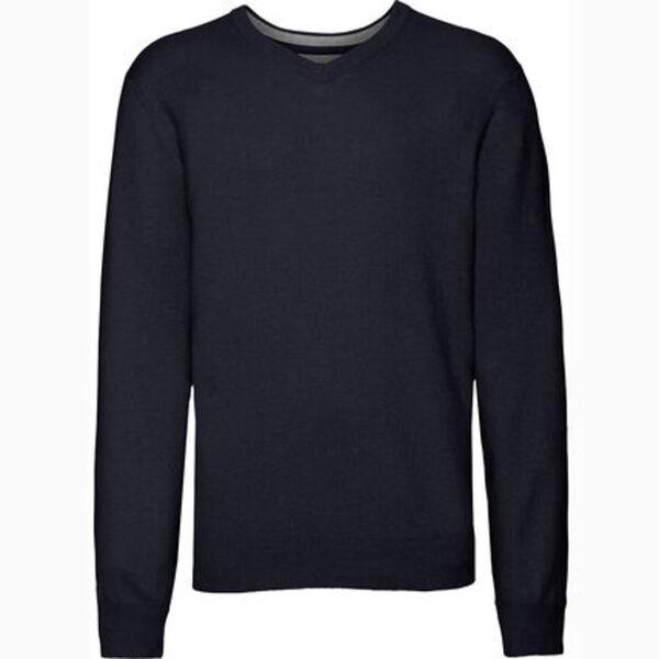 Dunmore Herren Seide-Cashmere Pullover, V-Ausschnitt, navy, 52, 52
