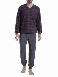 Seidensticker Herren Frottee-Schlafanzug, dunkelgrau, 50, 50