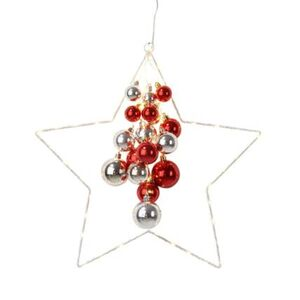 Pureday LED-Deko-Objekt 'Starlight', Silberfarben/Rot, klein, silberfarben/rot