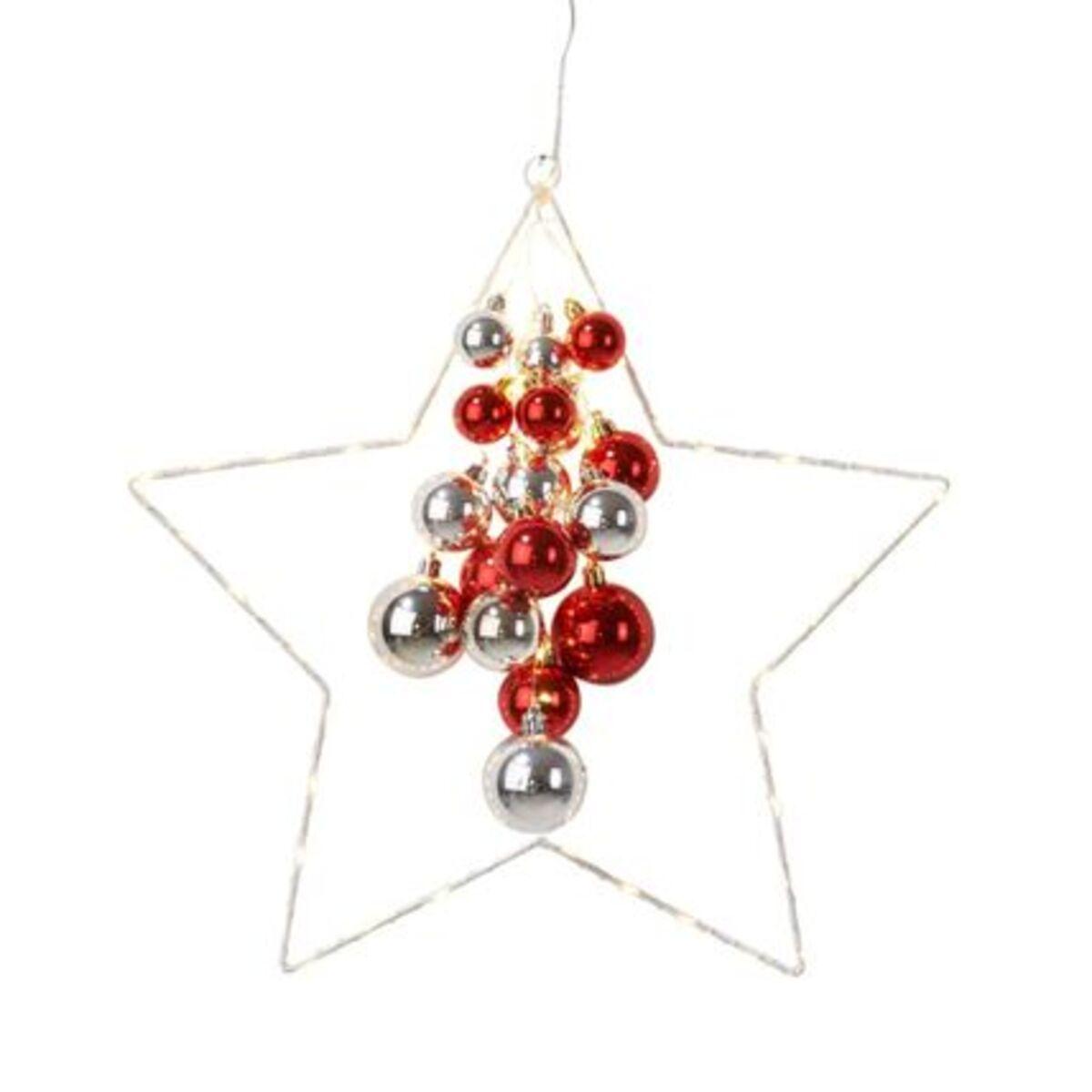 Bild 1 von Pureday LED-Deko-Objekt 'Starlight', Silberfarben/Rot, klein, silberfarben/rot