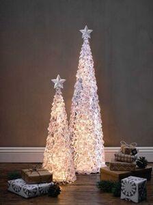 Pureday LED-Tanne 'Eiskristall', groß, weiß