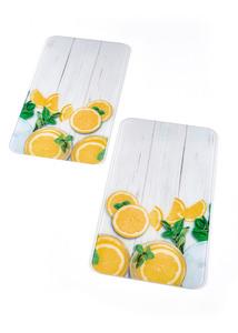 Herdabdeckplatten mit Zitronen-Motiv (2er Pack)