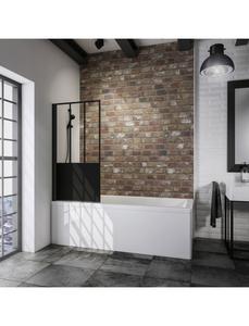 Badewannenfaltwand »Black Style Komfort«, L x B:  x 80 cm