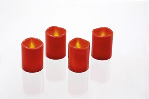 I-Glow LED-Echtwachskerzen 4er-Set, Zylinderförmig - Rot