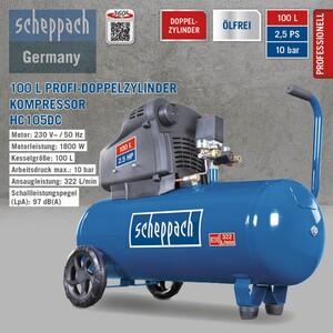 Scheppach Doppelzylinder Kompressor ölfrei HC105DC