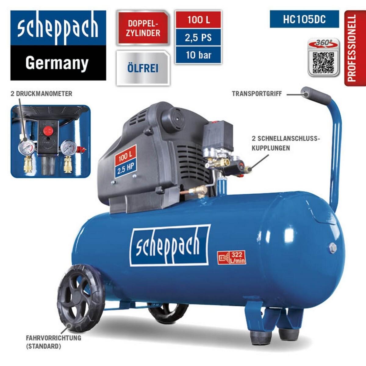 Bild 3 von Scheppach Doppelzylinder Kompressor ölfrei HC105DC